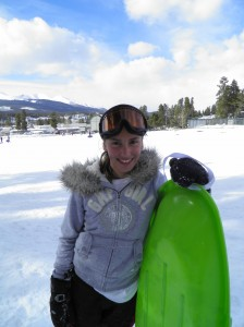Gap Girl with a sled